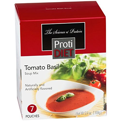 (ProtiDIET Soup Nutritional Supplement 7 Pouches (6.2 oz) | Low Calorie Instant Soup With High Protein & Delicious Soup Mix (Tomato Basil))