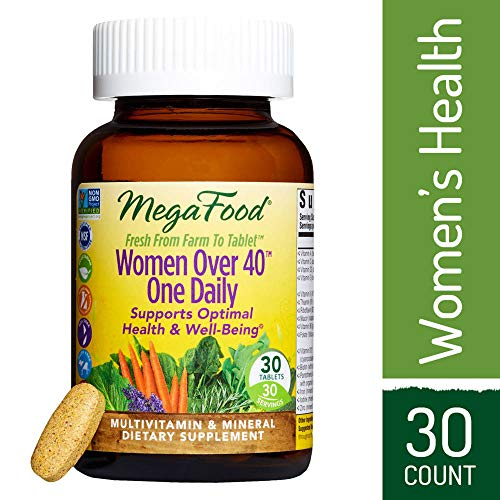 MegaFood - Women Over 40 One Daily, Multivitamin Support for Hair, Skin, Nails, Energy Production, and Hormone Balance with Iron and B Vitamins, Vegetarian, Gluten-Free, Non-GMO, 30 Tablets (FFP)