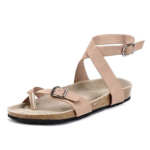 Plage Boucle Marron Beige 44 Chaussures Plates Flops 35 Plats Sandales Flip Avec Mode Été Cuir Tongs Noir talon Femmes De Bout Ouvert QWExCderBo
