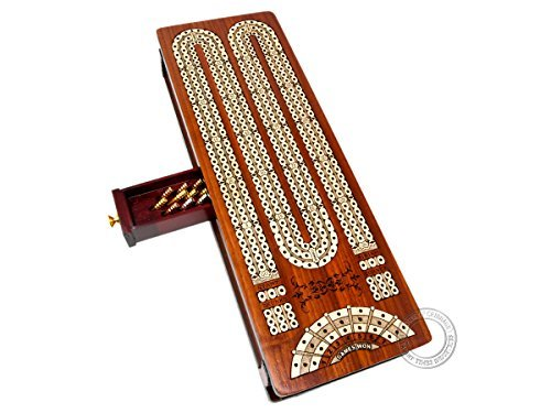 House of Cribbage - Continuous Cribbage Board / Box inlaid in Bloodwood / Maple - 3 Track - Sliding Lids with Score marking fields for Skunks, Corners and Won - Cribbage Case