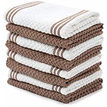 Sticky Toffee Cotton Terry Kitchen Dishcloth, Brown, 8 Pack, 12 in x 12 in