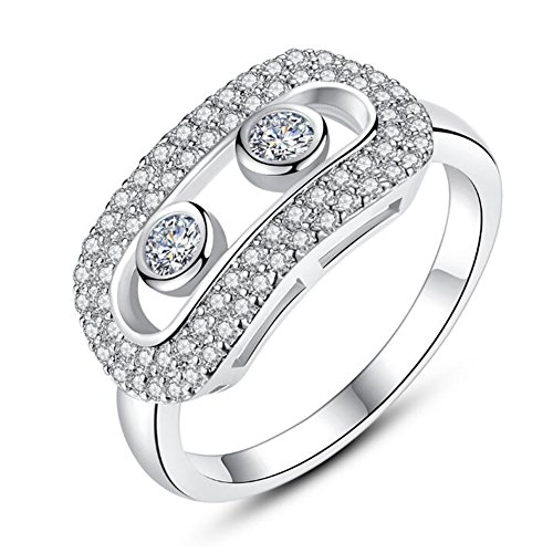 TEMEGO Unique Rings for Women - 14k White Gold Cutout Austrian Crystal Small CZ Pave Ring,Size 9
