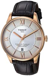 Tissot Men's 'T-Classic' Swiss Stainless Steel and Leather Automatic Watch, Color:Brown (Model: T0994083603800)