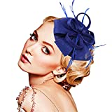 Legnaus Fascinators for Women Feather Fascinator Hats Women's Pillbox Hat for Wedding Church Deryby Tea Party