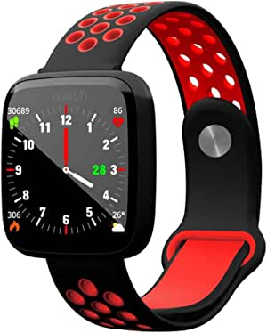 JDFHSD Smart Watch, Color Screen Smart Bracelet Multi-Sports Mode IP67 Heart Rate Blood Pressure Blood Oxygen Sleep Monitoring (Color : Red)