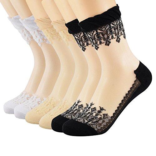 Floosum Womens 6 Pairs Ultrathin Transparent Lace Elastic Short Socks, Black, White, Skin