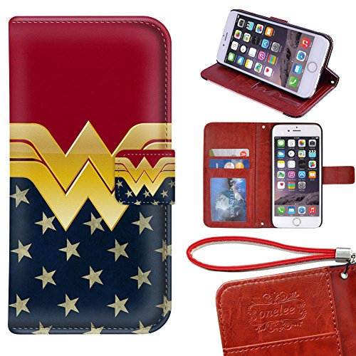 """Price comparison product image iPhone 6 / 6S Wallet Case - Onelee Wonder Women Premium PU Leather Case Wallet Flip Stand 4.7"""" Case for iPhone Regular 6 6S (2)"""