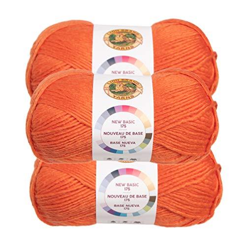 Lion Brand (3 Pack) New Basic Acrylic & Wool Soft Pumpkin Orange Yarn for Knitting Crocheting Medium #4