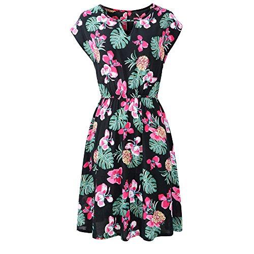 NEARTIME Loose Maxi Dress-Women Summer Printing Butterfly Sleeve Evening Party Mini Club Dress Pleated Beach Dress