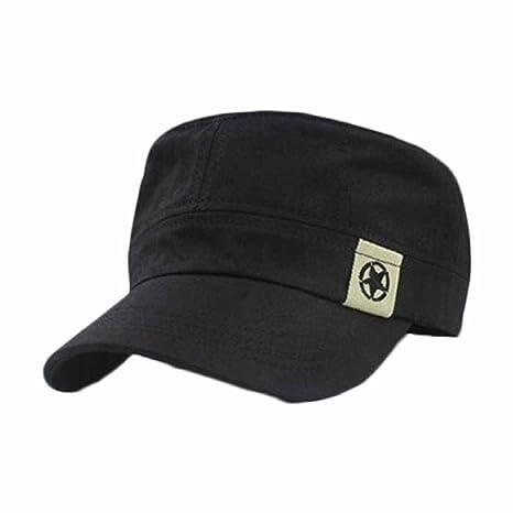 tongshi Moda Unisex tetto piano Cappello Militare cadetto Patrol Cappello  australiano Baseball Field Cap (nero a1ff1946dcaf