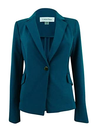 2d2a2ebaba6 Amazon.com  Calvin Klein Women s Plus Size Single-Button Crepe Blazer (16W