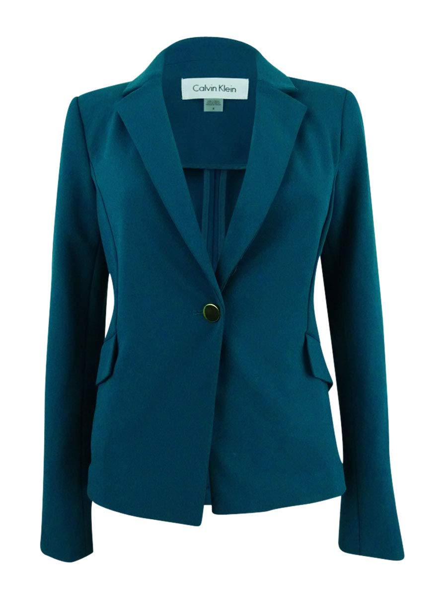 Calvin Klein Women's Petite One Button Jacket in Scuba Crepe, Cypress, 4P