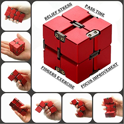 Lifidea Aluminum Alloy Metal Infinity Cube Fidget Cube (5 Colors) Handheld Fidget Toy Desk Toy with Cool Case Infinity Magic Cube Relieve Stress Anxiety ADHD OCD for Kids and Adults (Red) by Lifidea (Image #5)