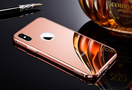 iPhone X Rose Gold Mirror Case for Girls, Miniko(TM) Luxury Anti-scratch Ultra thin Mirror Metal Aluminum Frame Protective Phone Case for Apple iPhone X Pink