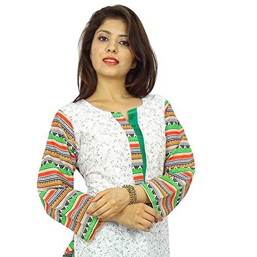 Étnica Kurti diseñador indio de Bollywood mujeres vestido casual Toptunic Off blanco y verde-2