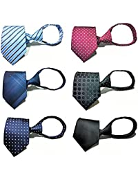 6pcs Zipper Tie Pre-tied Necktie Mixed Lot