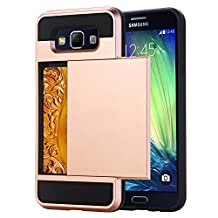 Galaxy A5 Case, EVERGREENBUYING [Slider Series] Protective Sliding Card Cases for SM-A5000 Soft-Interior Scratch Protection Finished Hard Cover for Samsung GALAXY A5 (2015) Rose Gold