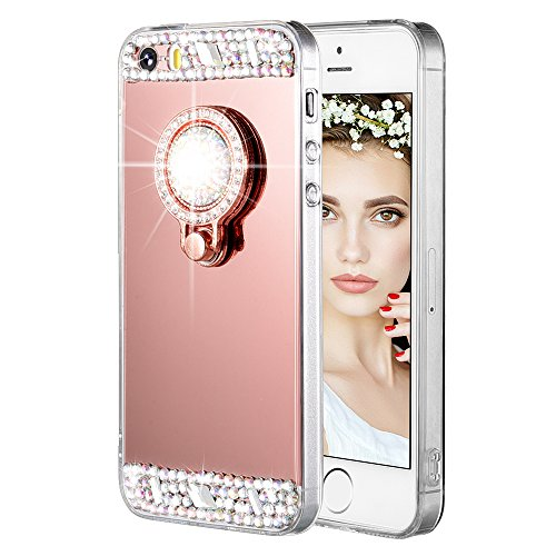 iPhone 5/5S/SE Case, Caka iPhone 5S Glitter Case [Rhinestone Series] Luxury Cute Shiny Bling Mirror Makeup Case for Girls with Ring Kickstand Diamond TPU Case for iPhone 5/5S/SE - (Rose Gold)