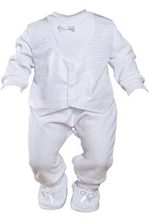 YiZYiF 3 St/ück Unisex Baby Jungen M/ädchen Taufkleidung Outfit Set Strampler Hut Festlich Hochzeit Taufanzug Neugeborene Babykleidung Weste