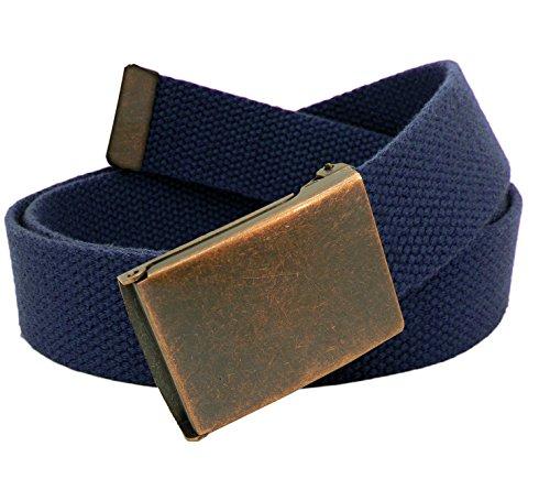 Boy's Cub Scout Uniform Belt with Antique Copper Flip Top Buckle and Adjustable Navy Web Belt LARGE