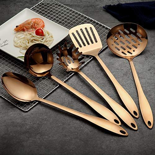 HOMQUEN Stainless Steel Kitchen Utensil Set - Copper 5 Cooking Utensils, Nonstick Kitchen Utensils Set, Solid Stainless Steel for Cooking Baking BBQ (Rose Gold)