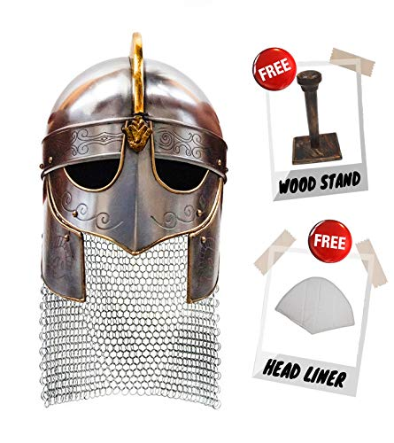 Medieval Viking Crusader Helmet Warrior Armor Knight Adult Costume Functional (with Chainmail)