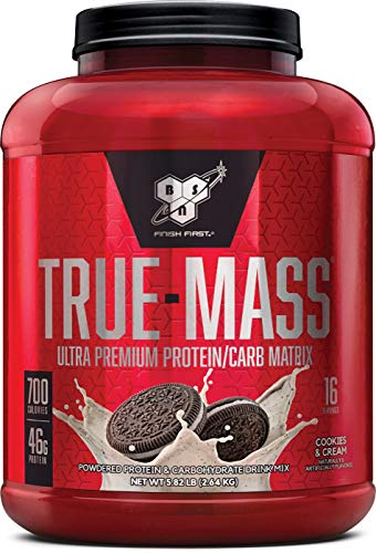 BSN TRUE-MASS Weight Gainer, Muscle Mass Gainer Protein Powder, Cookies & Cream, 5.82 Pound (Best Protein To Add Muscle Mass)
