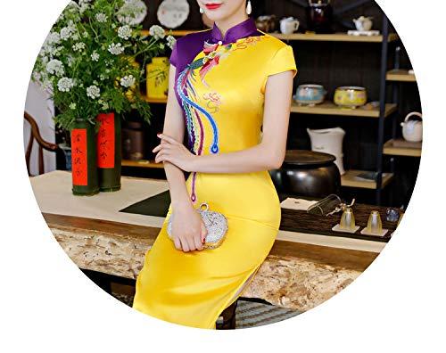 ピグマリオンそれに応じてみがきますチャイナドレス 赤、緑、青、紫、多色ステッチ、カラフル、エレガントなスカート,イエロー?パープル,XXXXL