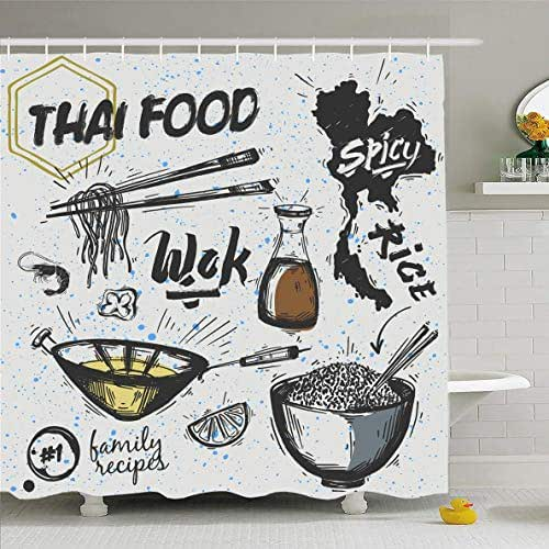 Ahawoso Shower Curtain 72x72 Inches Box Wok Asian Dishes Thai Food Noodles Away Drink Pan Sketch Travel Cooking Doodle Design Waterproof Polyester Fabric Set with Hooks