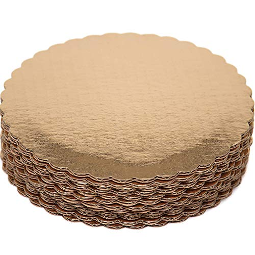 Premium Quality Gold Cake Circles - Set of 12 Grease Proof Laminated Round Cake Boards Bases 8 Inch Diameters - Perfect for Birthday and Wedding Cakes by Upper Midland Products