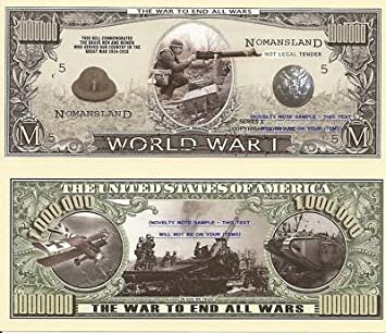 Novelty Dollar First World Great War WW1 One Million Dollar Bills X 2