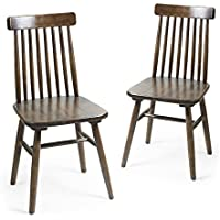 Homebeez Elm Wood Vintage-Style Dining Chair with Vertical Slat Back, Dark Brown (Set of 2)