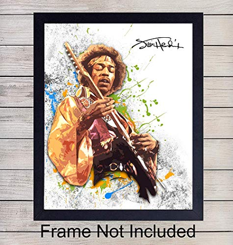 Jimi Hendrix Unframed Wall Art Print - Great Gift For Musicians, Guitarists and Rock n Roll Fans - Retro Chic Home Decor - Ready to Frame (8x10) Vintage Photo ()