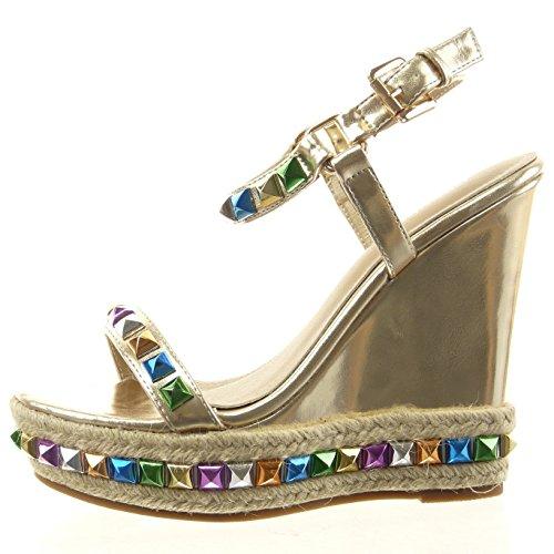 Sopily - Chaussure Mode Sandale ouverte plateforme Cheville femmes chaïnes brillant corde Talon compensé 12 CM - Intérieur synthétique - Or