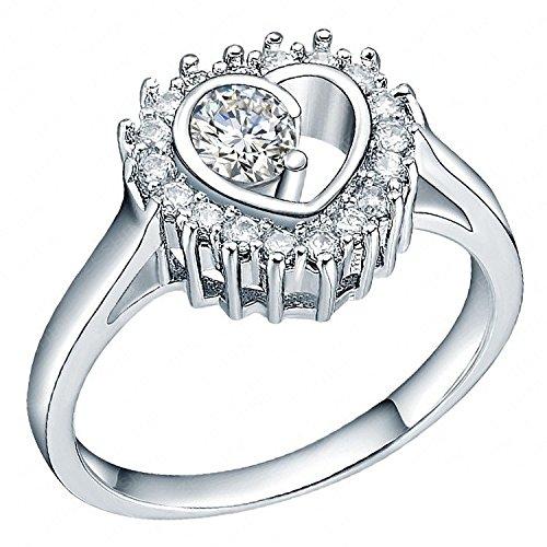 Smile _ joyas lujo joyería novia anillos chapado en platino amor corazón anillos de boda
