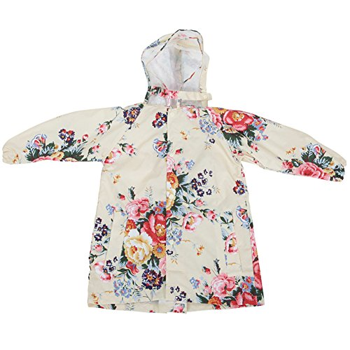 M2C Girls Floral Patterned Hooded Waterproof Raincoat 8/9 Yellow (Raincoat Patterned)