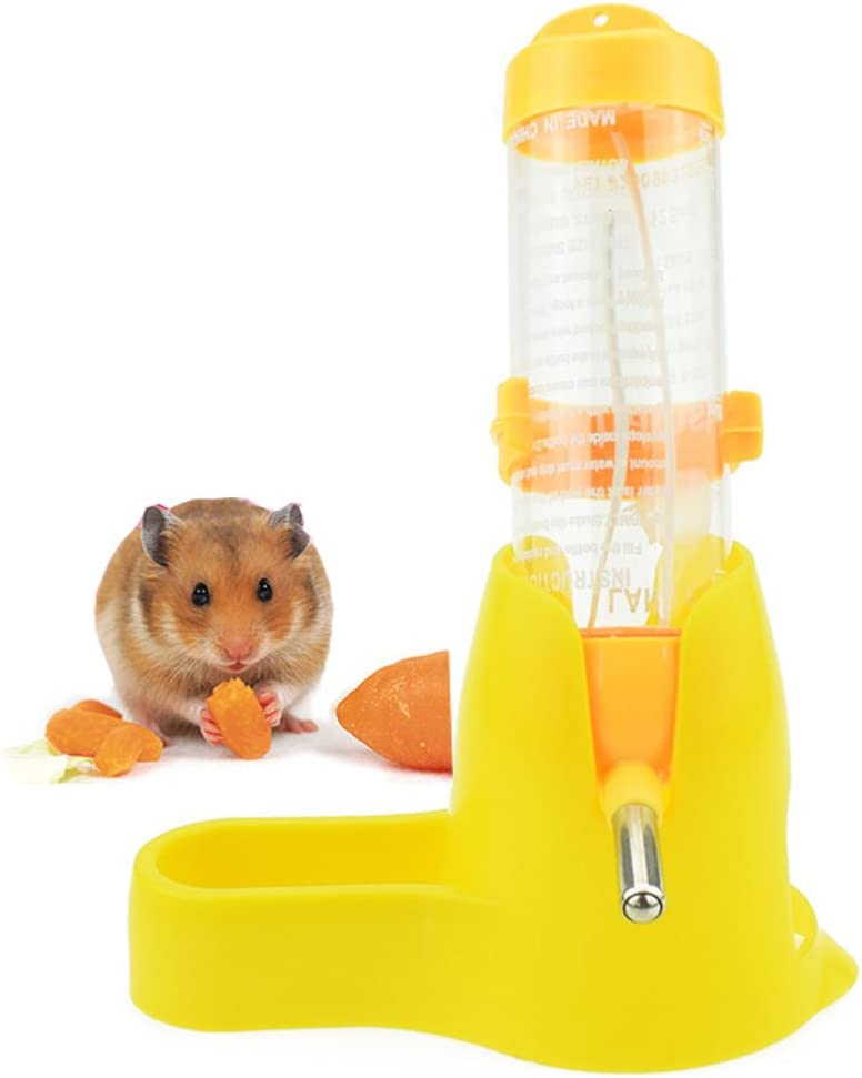 Lonni Hamster Water Bottle, 125 ML Small Animal Water Bottle Water Auto Dispenser with Food Container Base for Hamsters Rabbit Gerbil