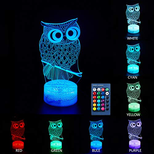 Uideazone Owl 3D LED Optical Illusion Lamps Night Light 7 Co