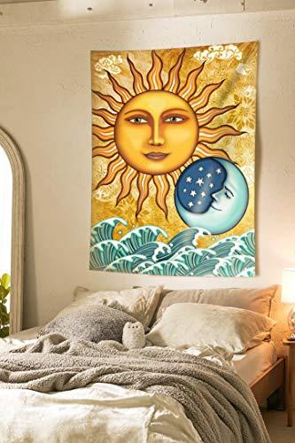 Pheolyh Ocean Sunshine Blue Moon Celestial Tapestry Bohemian Mandala Wall Hanging Fractal Faces Tapestry for Bedroom Living Room Dorm ()