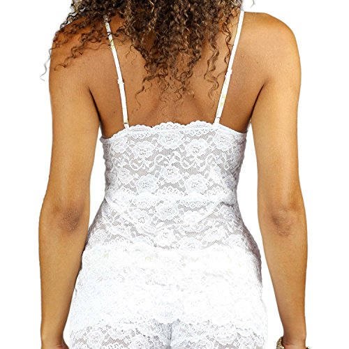 foxers Hip longitud encaje camiseta de tirantes Mujer uñas | ver a través de lencería | XS-XXL White/Frozen Gold