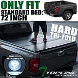 Topline Autopart Solid Tri-Fold Hard Tonneau Topper Cap C...