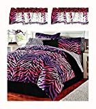 Safari Home Pink & Purple Ombre Zebra/Leopard Print Comforter & Sheet Set + Toss Pillow and Two Window Valances (9pc Twin Size Ensemble)