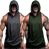 nine bull Men's Workout Hooded Tank Tops Sleeveless Gym Hoodies Bodybuilding Muscle Sleeveless T-Shirts M, Dark Grey and Oliver Green