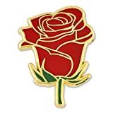 PinMart Red Rose Flower Boutineer Trendy Enamel Lapel Pin