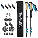 TheFitLife Carbon Fiber Trekking Poles – Collapsible and Telescopic Walking Sticks with Natural Cork Handle and Extended EVA Grips, Lightweight Nordic Hiking Poles for Backpacking Camping