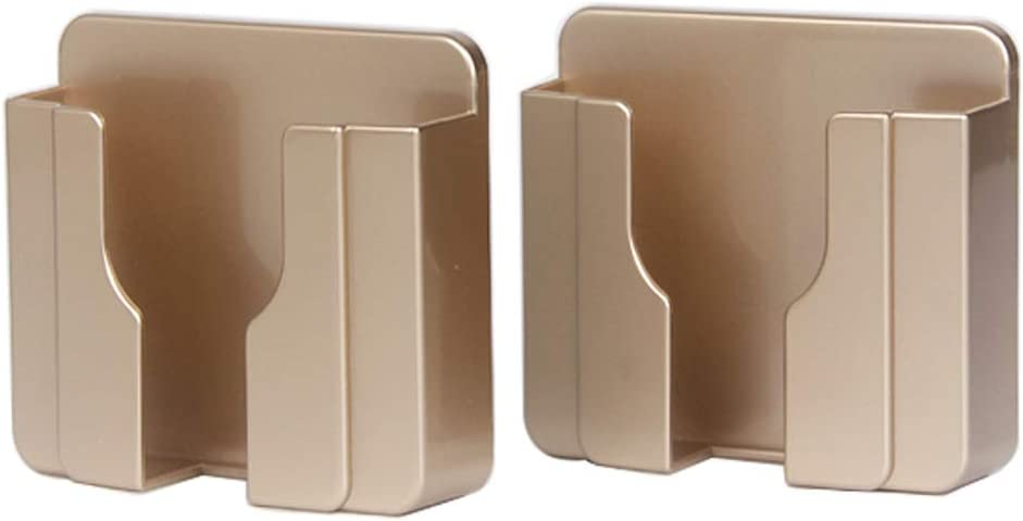 Wall Mount 3M Adhesive Mobile Phone Wall Charger Holder and Remote Control Stand Multipurpose Storage Box (Gold 2 Pack)