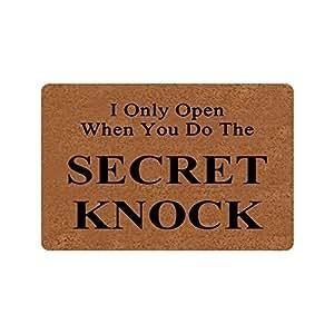 I solo abierto cuando haces el secreto Knock Funny diseño Interior/Al aire libre Felpudo 23.6(L) x15.7(W) pulgadas antideslizante lavable a máquina decoración para el hogar