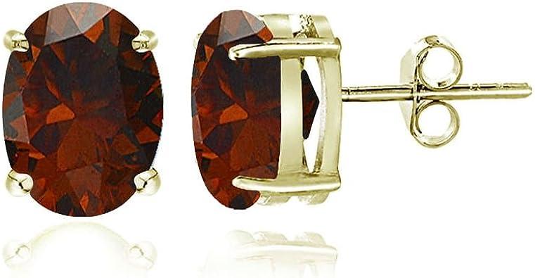925 Sterling Silver Rhodium-plated 5x3mm Oval Garnet Post Earrings