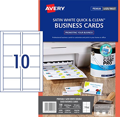 Avery c32026 10 double side printable business cards with satin avery c32026 10 double side printable business cards with satin finish 270 gsm for laser printers 85 x 54mm cards 10 cards per a4 sheet 10 sheets per reheart Images