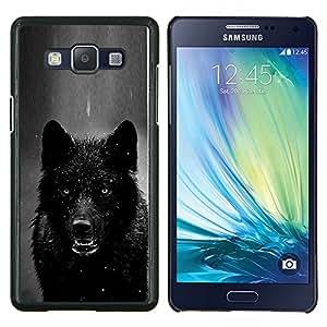 KLONGSHOP // Cubierta de piel con cierre a presión Shell trasero duro de goma Protección Caso - hombre lobo enojado negro blanco invierno lobo - Samsung Galaxy A5 A5000 //